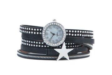 Horloge armband star zwart