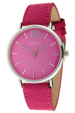 Ernest horloge zilver fuchia
