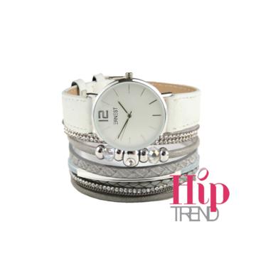 Armbanden set wit met licht grijs