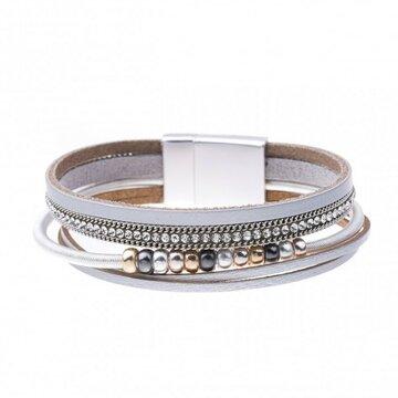 Mix & Match armband spiraal sparkling licht grijs