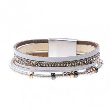 Mix & Match armband spiraal sparkling beige/wit