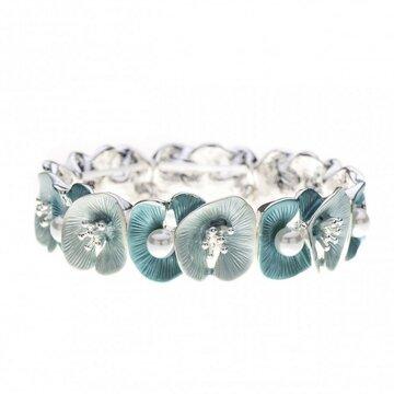 Luxe armband met bloemen en parels groen