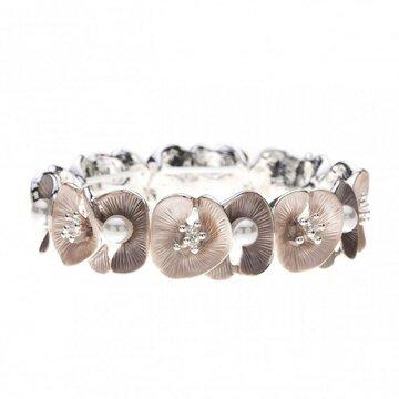 Luxe armband met bloemen en parels taupe