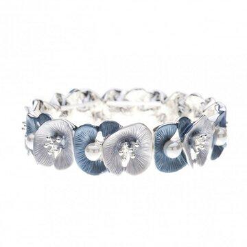 Luxe armband met bloemen en parels blauw