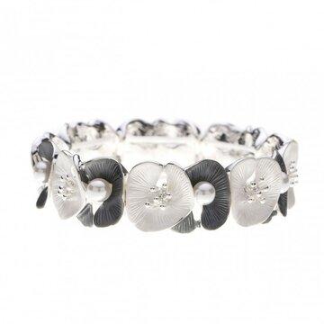 Luxe armband met bloemen en parels grijs