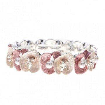 Luxe armband met bloemen en parels roze