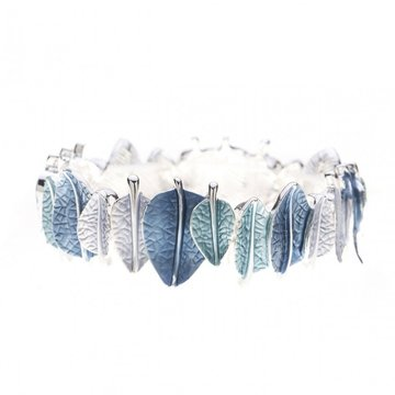Luxe armband bladeren blauw