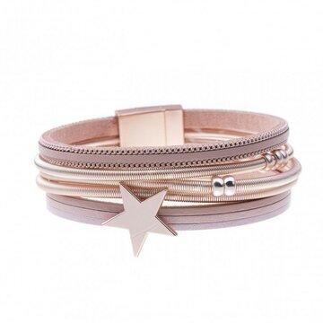 Armband star roze