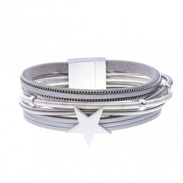 Armband star grijs/zilver