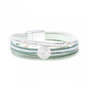 Armband pearl licht groen