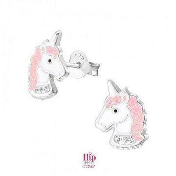 roze unicorn zilveren kinder oorbellen