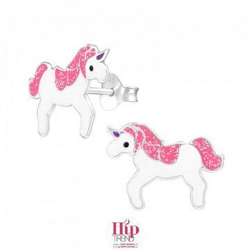 Roze zilveren unicorn kinder oorbellen