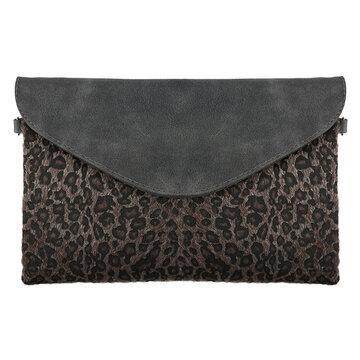 Schouder en clutch leopard grijs