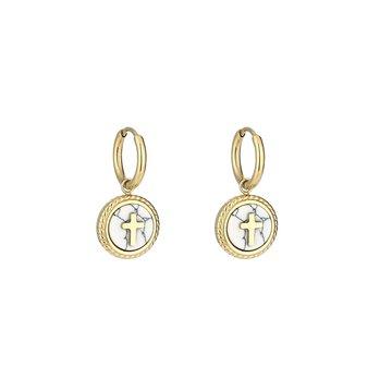 Stainless-steel-oorbellen-kruis goudkleurig