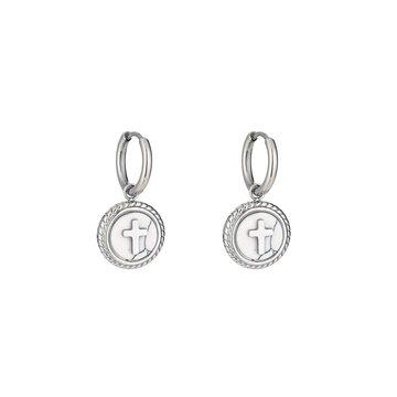 Stainless steel oorbellen kruis zilverkleurig met wit