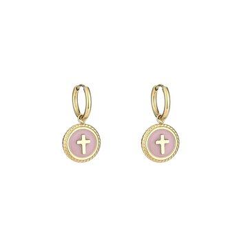 Stainless steel oorbellen kruis roze