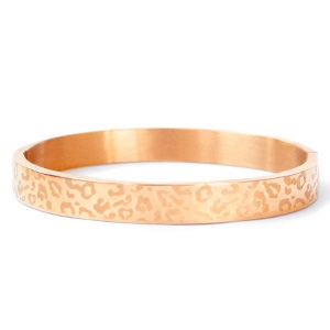 Stainless steel armband leopard print rose kleurig