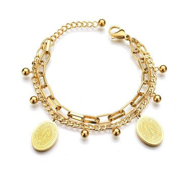 Stainless steel armband Maria goudkleurig