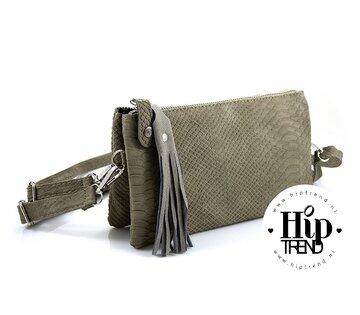 Handigste tasje ooit NIEUW Schouder en heup tas licht groen snake