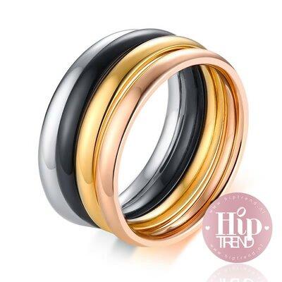 4 kleuren gladde ringen set