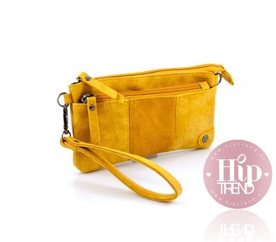 Geel portemonnee en telefoontasje in één