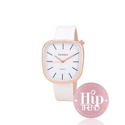 Horloge vierkant rosé wit