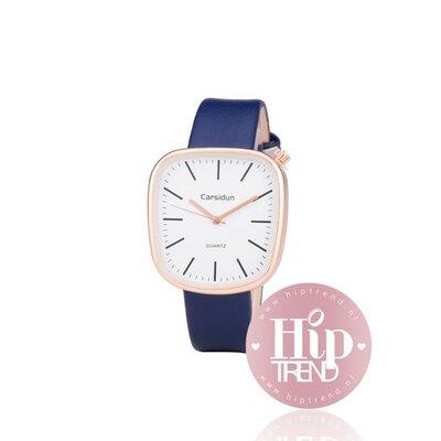 Horloge vierkant rosé blauw