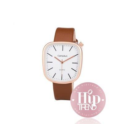 Horloge vierkant rosé camel