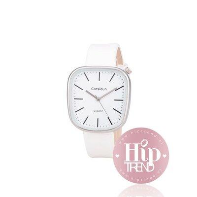 Horloge vierkant zilver wit