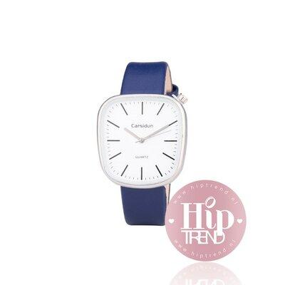 Horloge vierkant zilver blauw