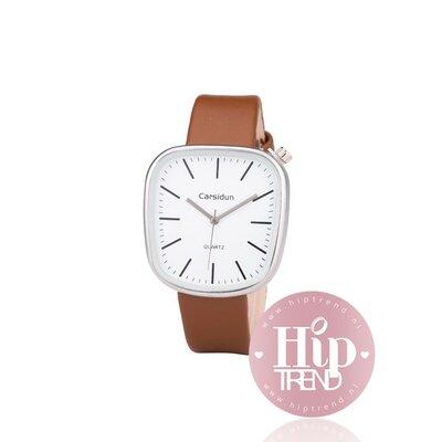 Horloge vierkant zilver camel