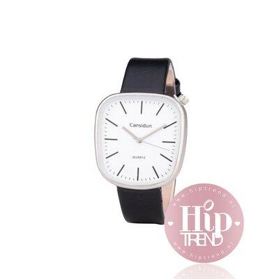 Horloge vierkant zilver zwart