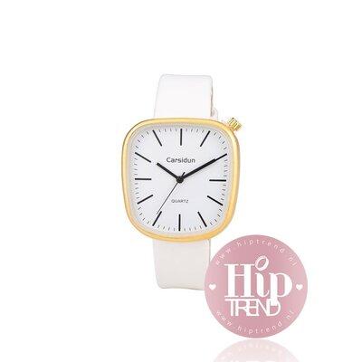 Horloge vierkant goud wit