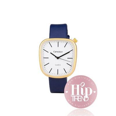 Horloge vierkant goud blauw