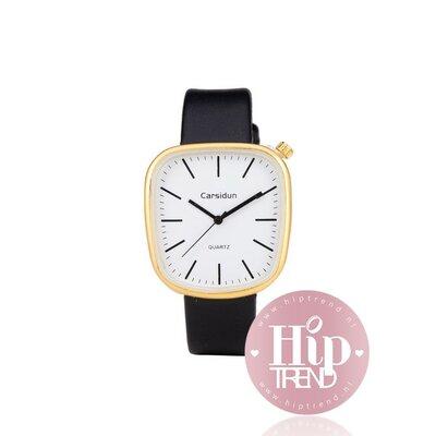 Horloge vierkant goud zwart