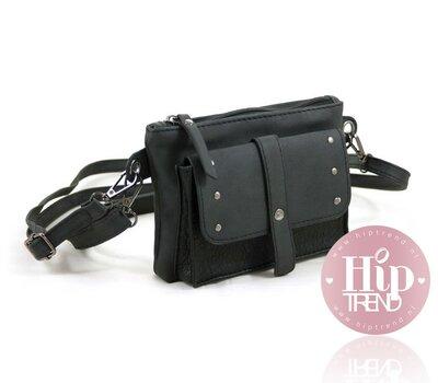 Stoer zwart heup en schoudertasje