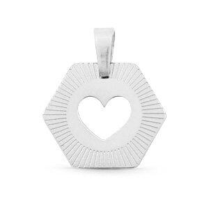 Bedels van stainless steel (RVS) hart zilver