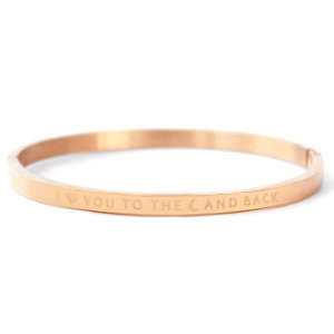 Rosékleurige stalen armband I LOVE YOU TO THE MOON AND BACK