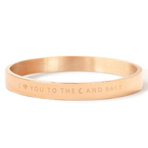 Rosékleurige stalen armband met I LOVE YOU TO THE MOON AND BACK