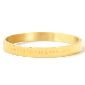 Goudkleurige stalen armband met I LOVE YOU TO THE MOON AND BACK