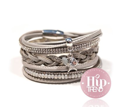 Licht grijze star armbanden set