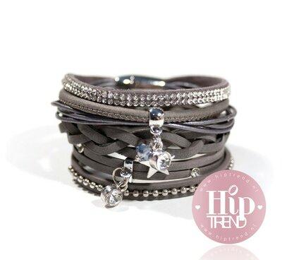 Donker grijze star armbanden set