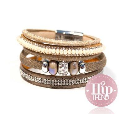 Creme bruin sparkling armbandenset