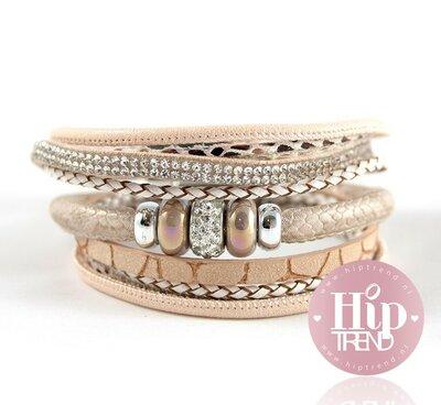 Oud roze sparkling armbandenset
