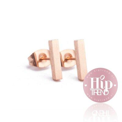 Roestvrij stalen rosé oorbellen staafje