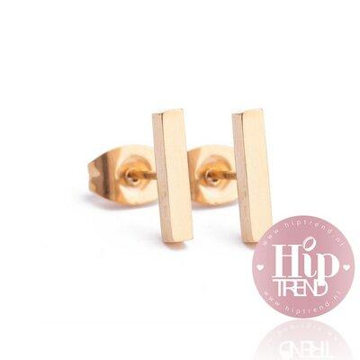 Roestvrij stalen goudkleurige oorbellen staafje