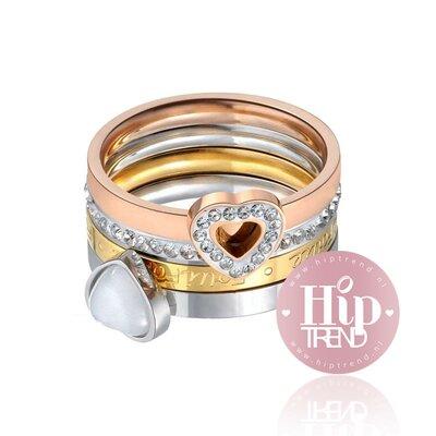 3 kleuren ringen set hart glinster