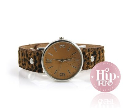 Leopardprint horloge camel