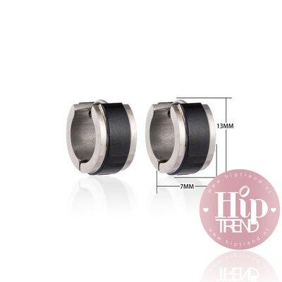Roestvrij stalen oorbellen zwart met zilver