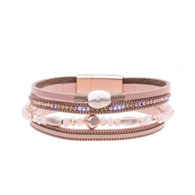 Mix & Match armband donker rose,peach sparkling